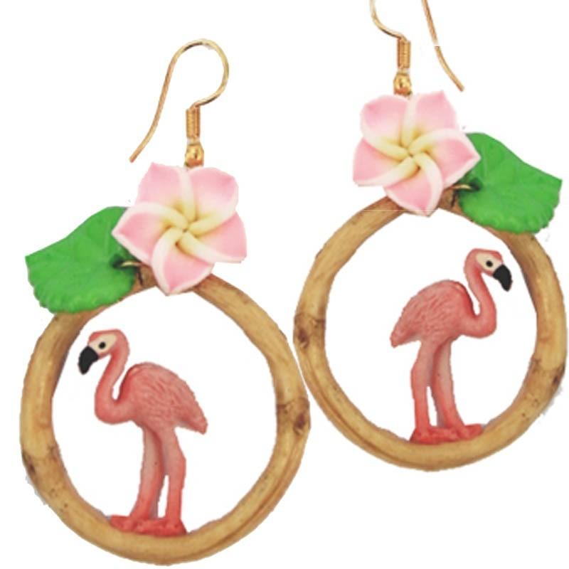 Miranda's Choice - Oorbellen met flamingo in bamboering met bloem