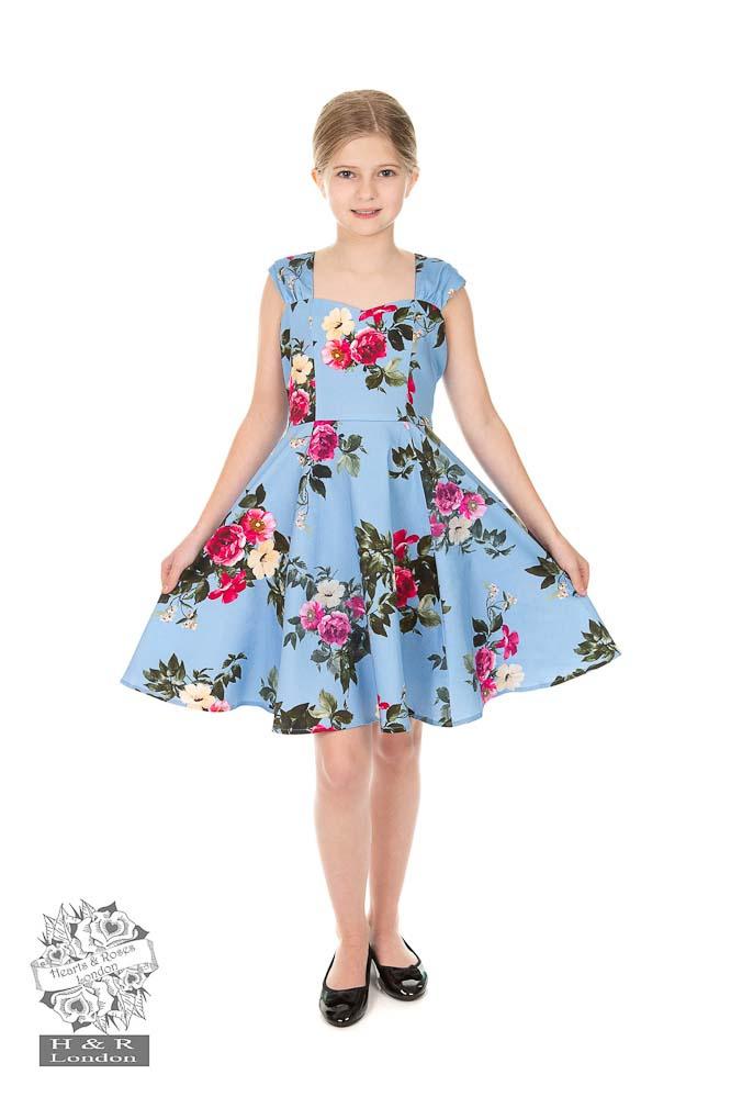 Hearts and Roses   Kinderjurk Jolene blauw met rozen