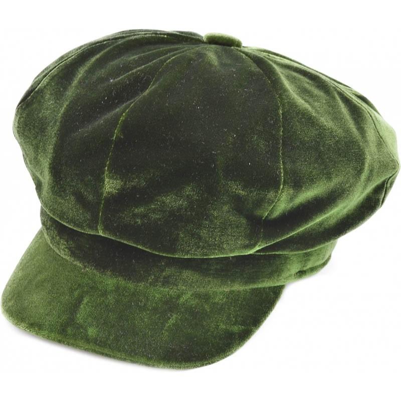 Klassieke fluwelen pet, groen