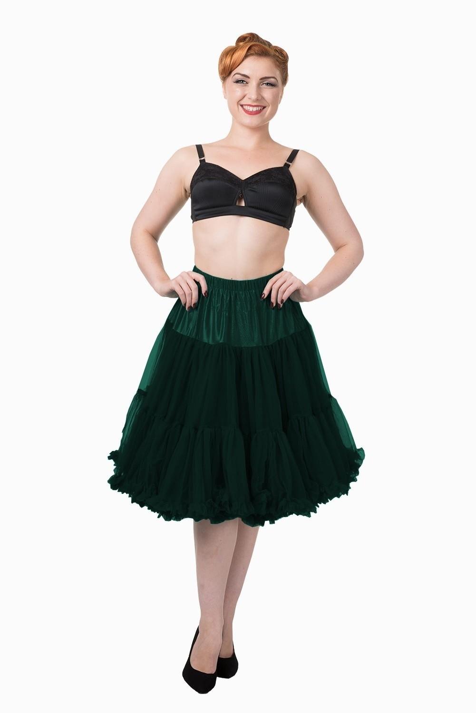 Petticoat Starlite over de knie met extra volume, bottle green