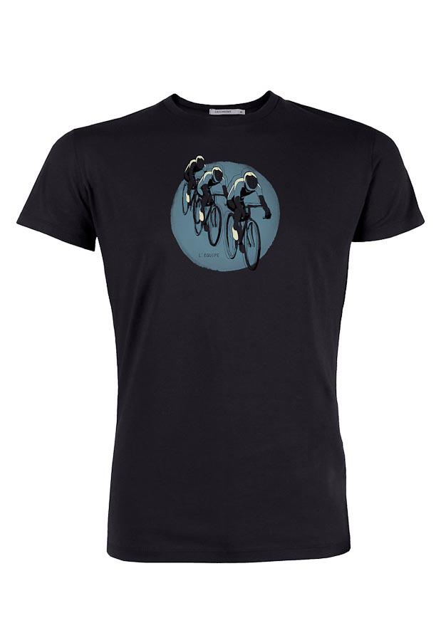 Green Bomb | T-shirt bike Tour, bio katoen zwart