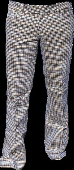 Pantalon Squares, babycord créme met bruin geruit, uitlopende pijpen
