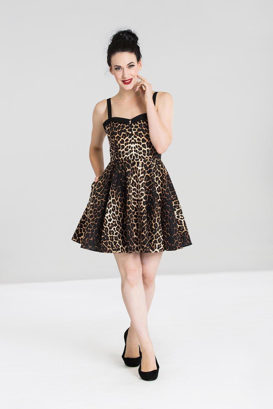 Hell Bunny | Mini jurk Panthera met panterprint en knopen