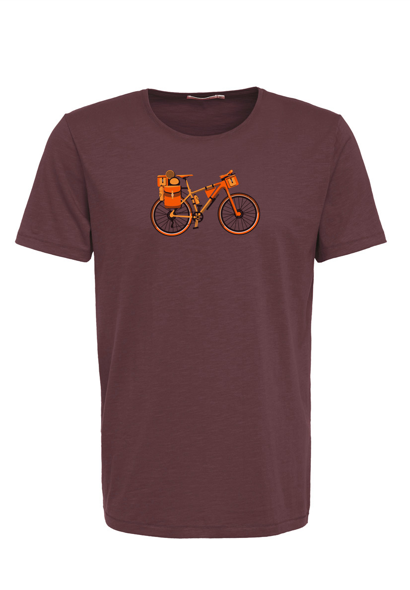 Green Bomb | T-shirt bike nomad, dark chocolate bio katoen