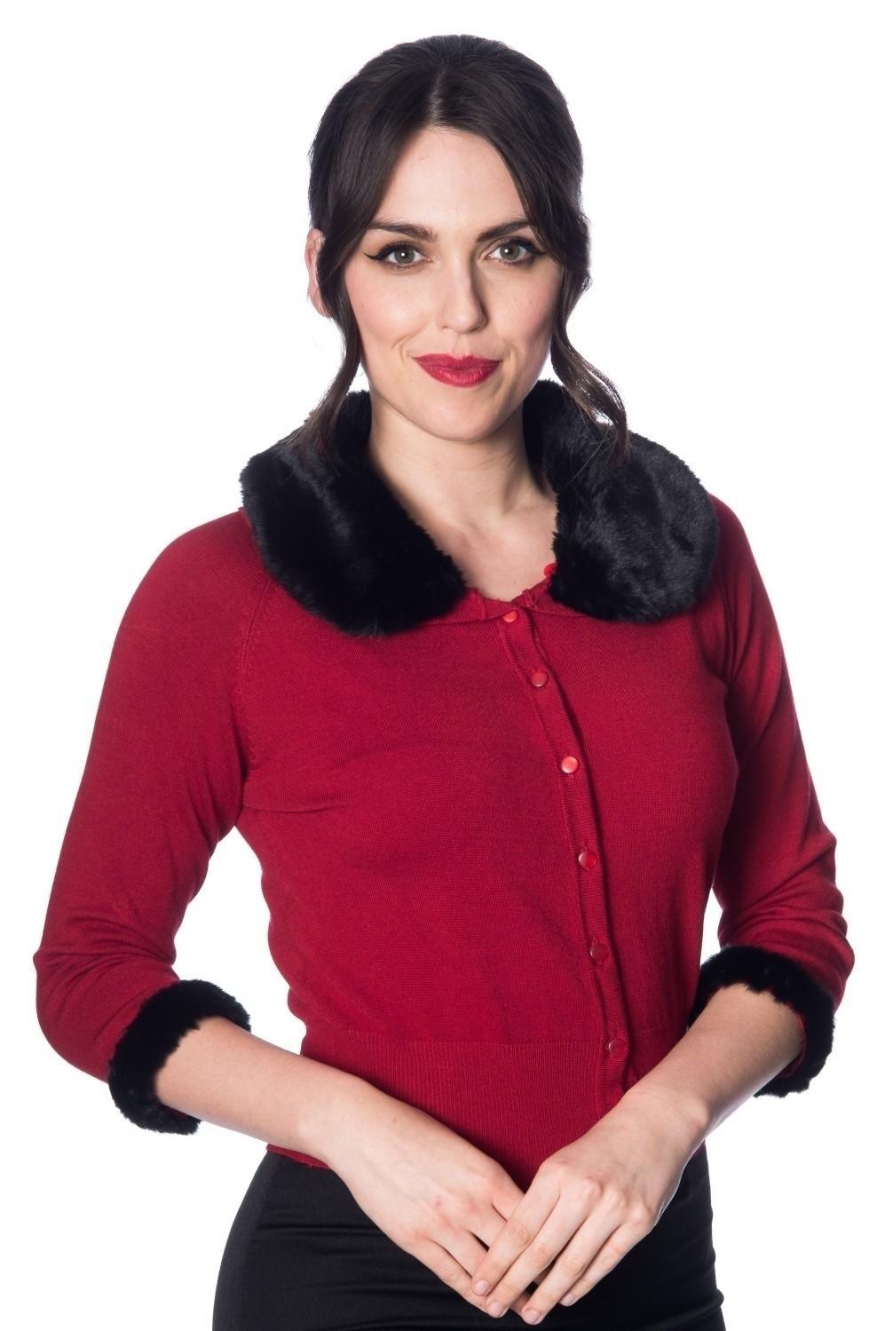 Cardigan Sapphire, rood met zwarte imitatie bont kraag en manchetten