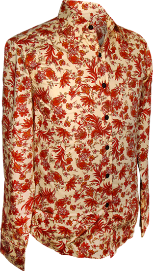 Overhemd, flowers & leaves creme red