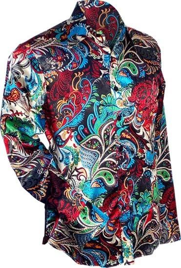 Overhemd retro, Paisley Colourful, satijn