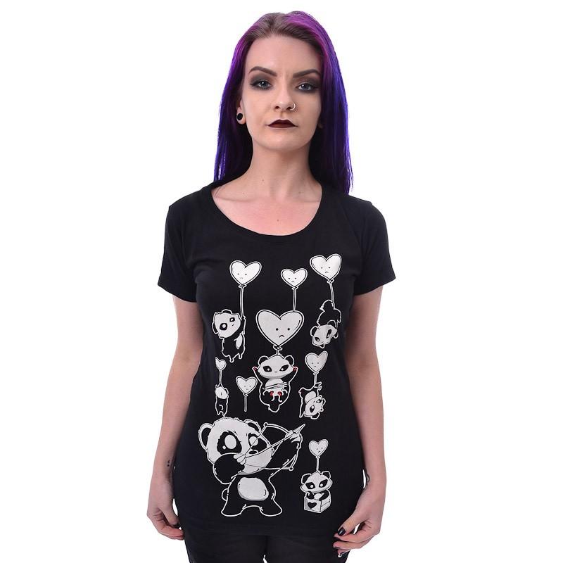 T-shirt Shooting Hearts, witte opdruk, zwart