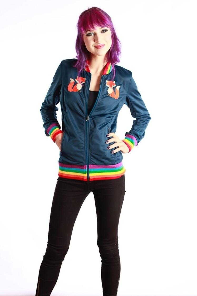 Sportjas Anne Vos, blauw met regenboog boorden