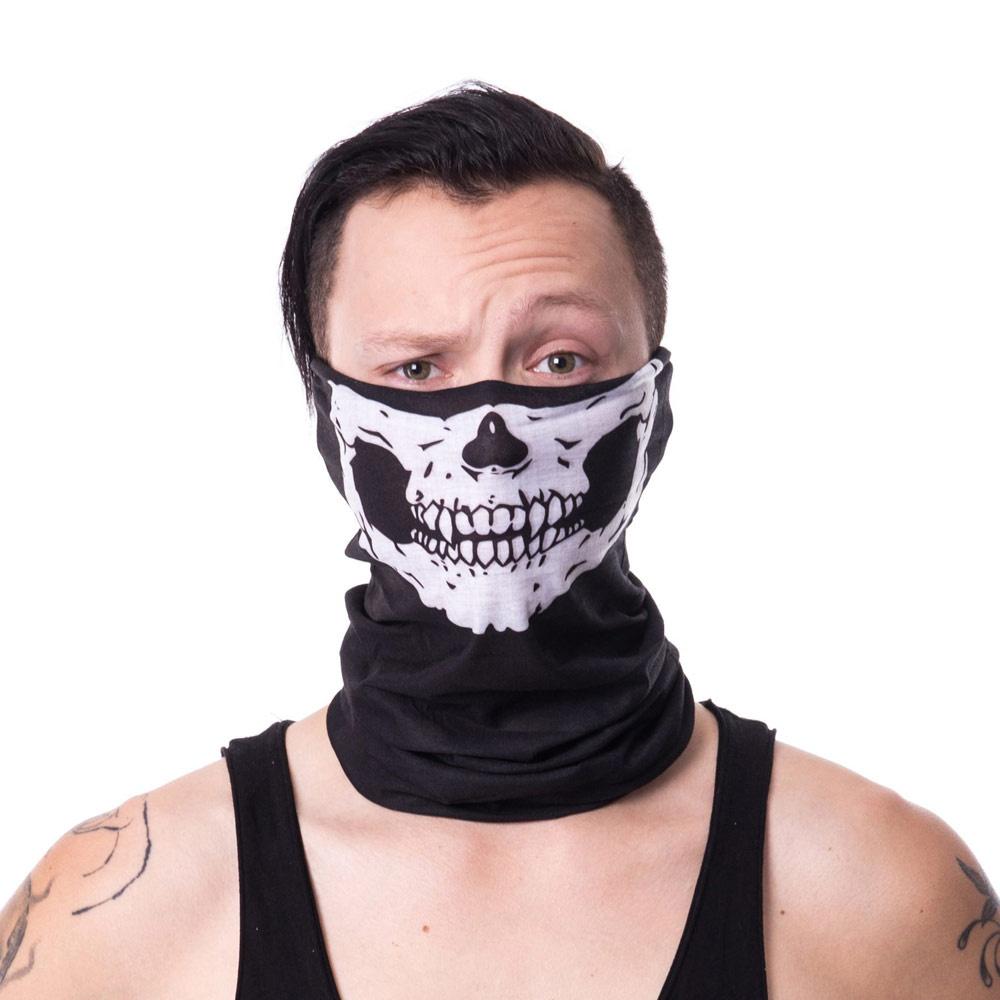 Poizen Industries | Sjaal masker zwart met skull print