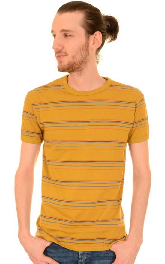 T-shirt, retro okergeel gestreept