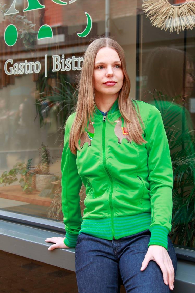 ATO Berlin | Sportjas Anne, lentegroen met alpaca borduursels