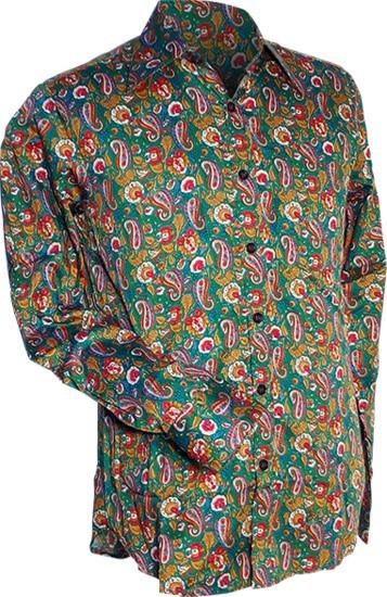 Overhemd seventies, Paisley en bloemen groen