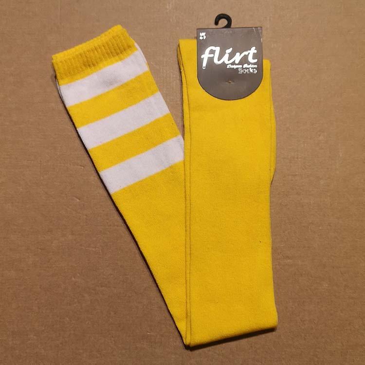 Flirt | Gele overknee sokken met 3 witte strepen