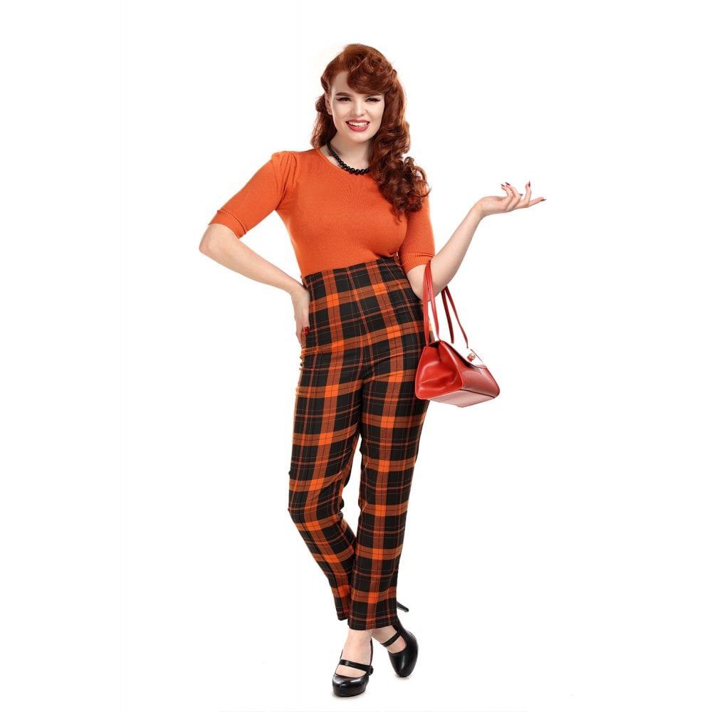 Collectif | Broek Bonnie pumpkin, oranje tartan met hoge taille