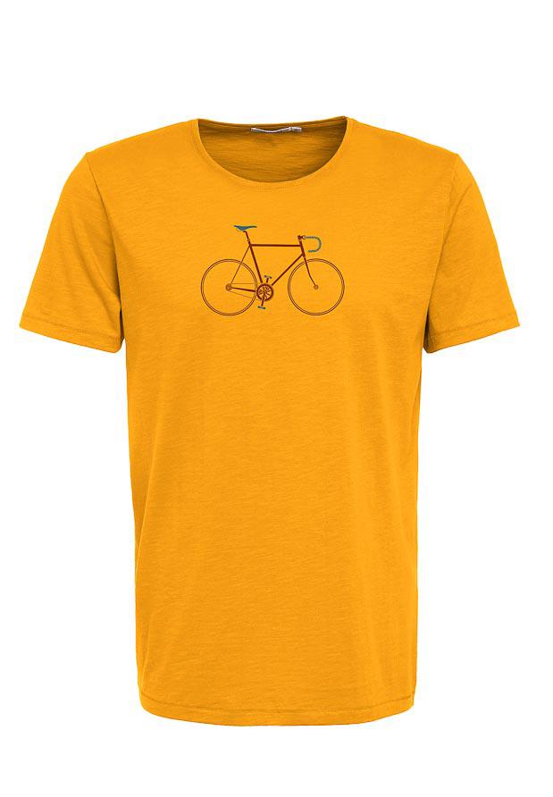 Green Bomb   T-shirt bike trip, bio katoen goud geel