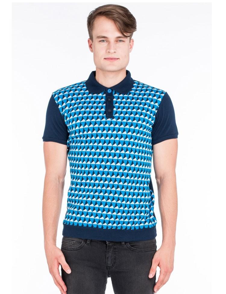 Polo Enzio, met blauw retro jaquardpatroon