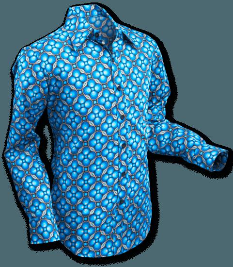 Overhemd Seventies Dotsgrid Black Petrol