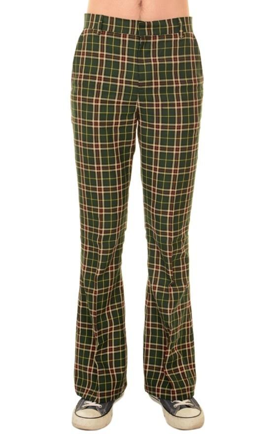 Pantalon met wijde pijp groene tartan