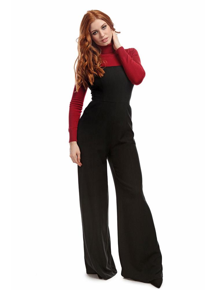 Collectif   Zwarte jumpsuit Mila Herringbone