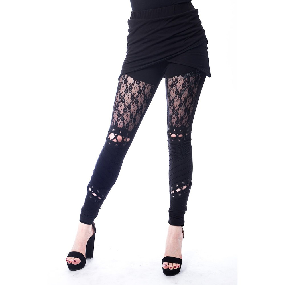 Legging Myth, zwart met kant details