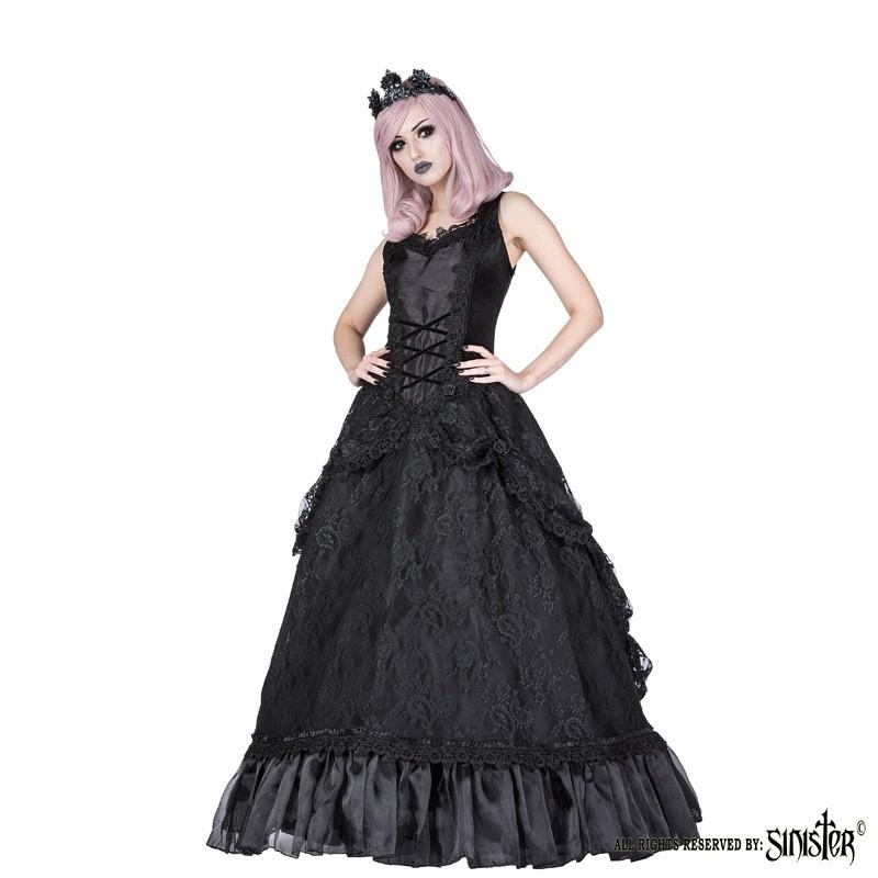 Lange Gothic Jurk Lauren, zwart met gedrapeerd kant