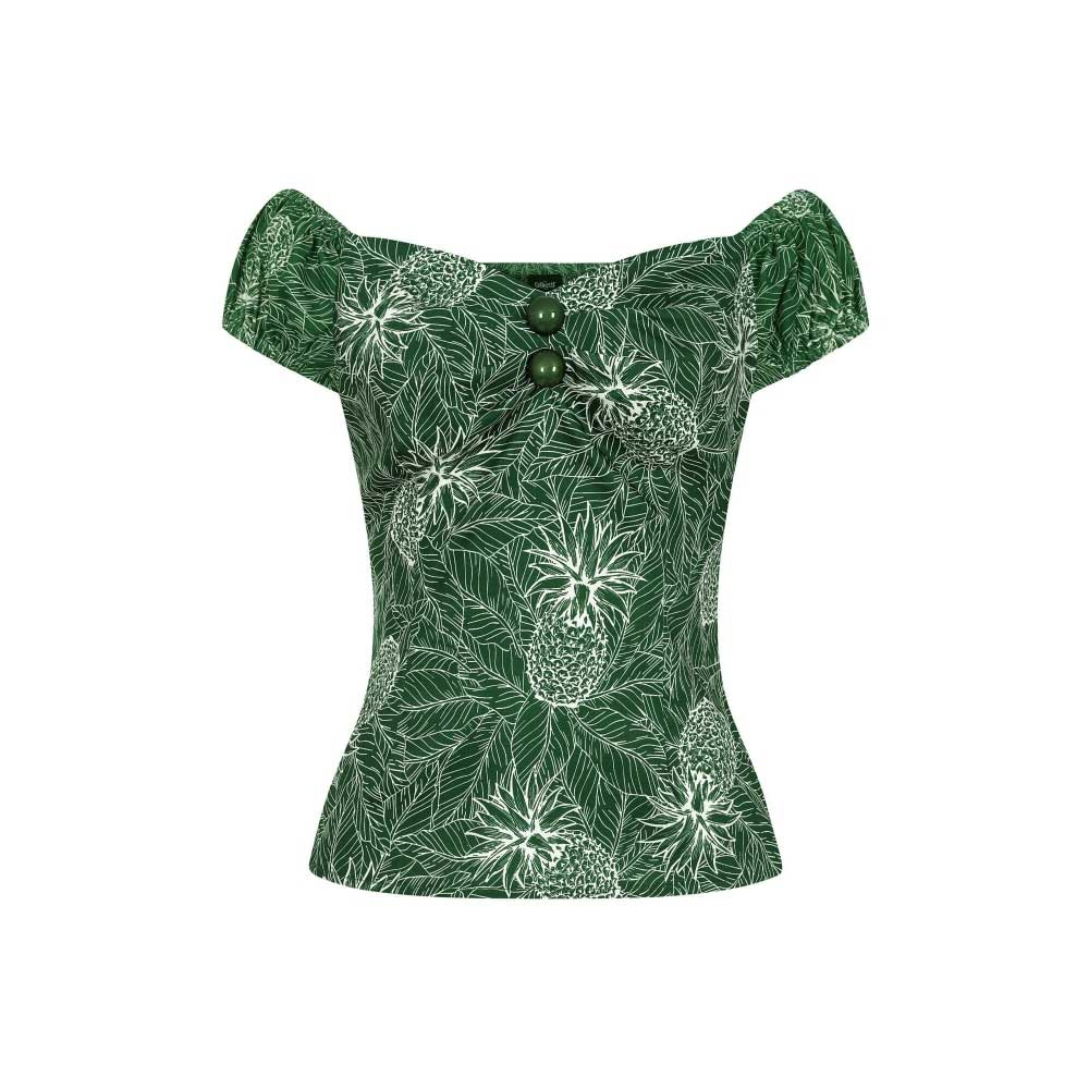 Collectif | Top Dolores Pineapple Palm groen