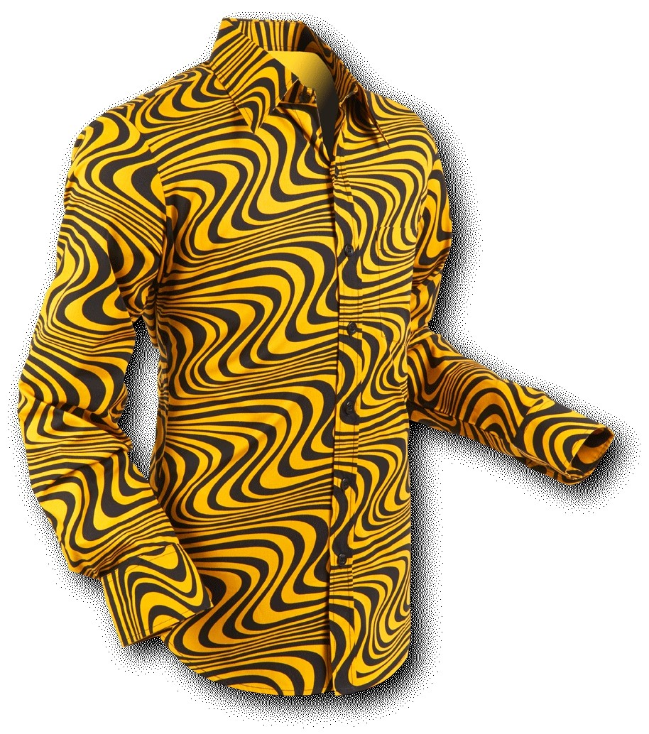 Overhemd Seventies Wavyline Yellow Black