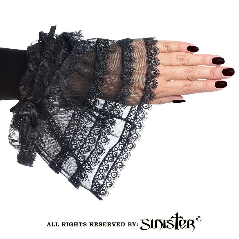 Handschoen Raven, met roezel van zwartfluweel met kant