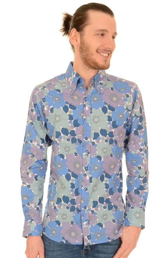 Overhemd met lange mouw, blauwe bloemen