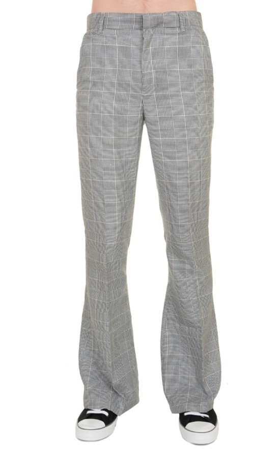 Pantalon met wijde pijp, grijs geruit