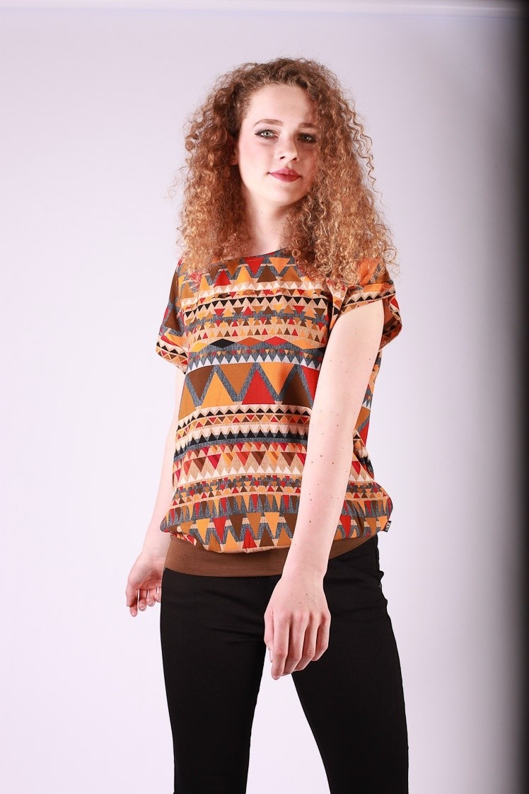 Shirt top Leo oranje bruin multicolour