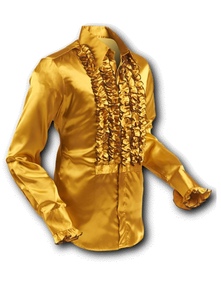 Overhemd ruche, satin gold