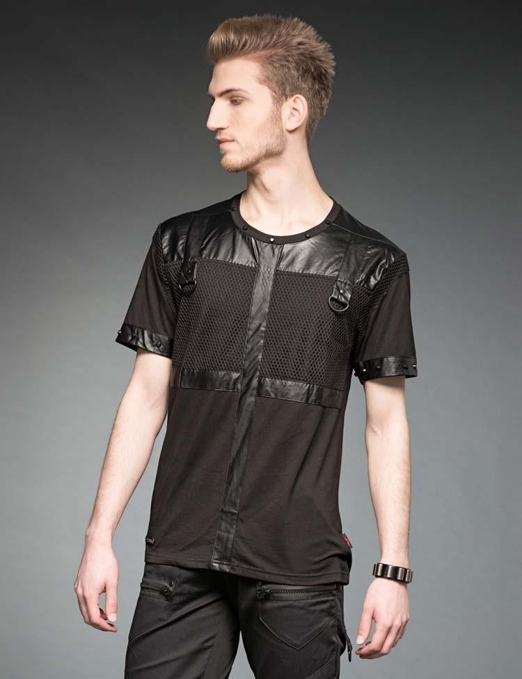 T-Shirt Kinky met Gaas en Kunstleer details