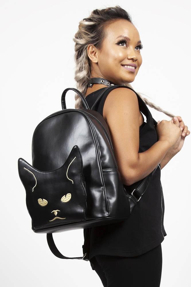 Rugtas Grumpy Kitty, zwart met witte katten snoet