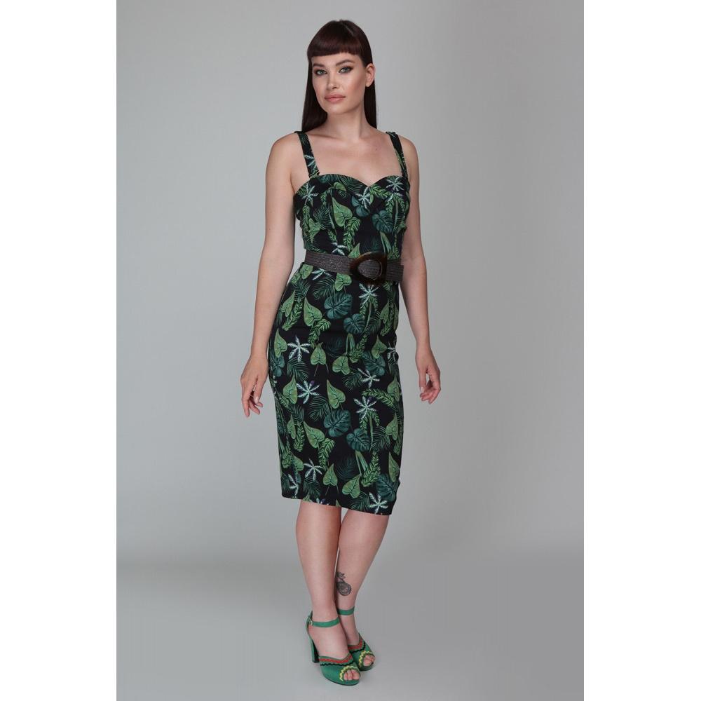 Collectif | Pencil jurk Kiana Tropics met bladeren groen