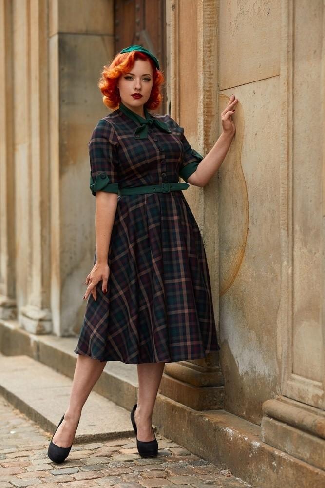 Jurk Cherelle Gia, herfst tartan retro swing model