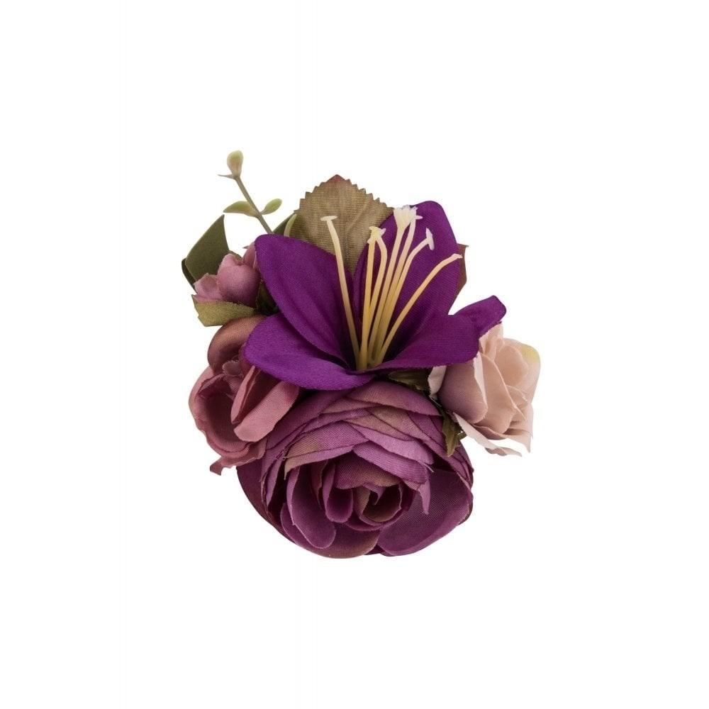 Haarclip/broche, met paarse bloemen