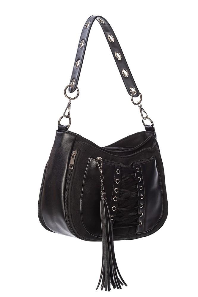 Handtas Tamora, met corsetdetail, zwart
