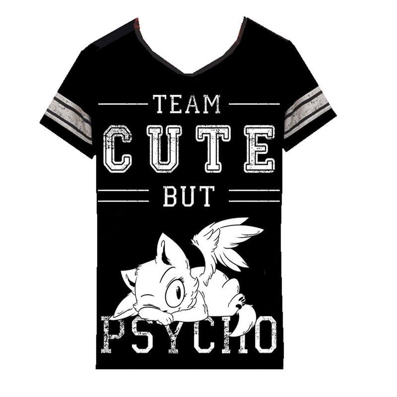 T-shirt Cute But Psycho, zwart