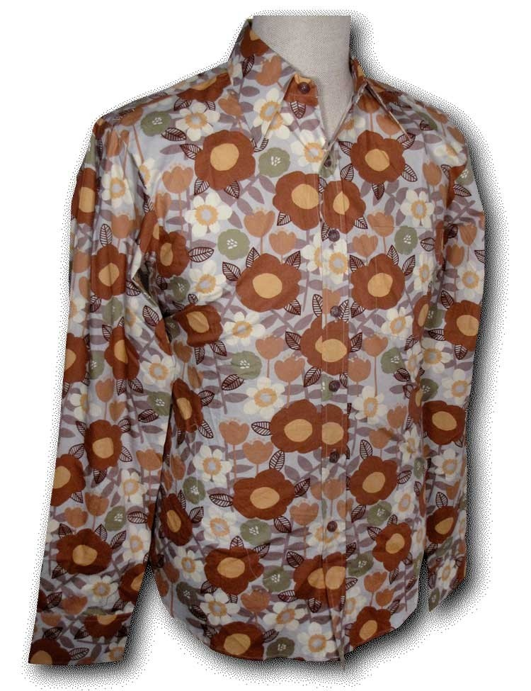 Overhemd Seventies Retro Flowers grey brown