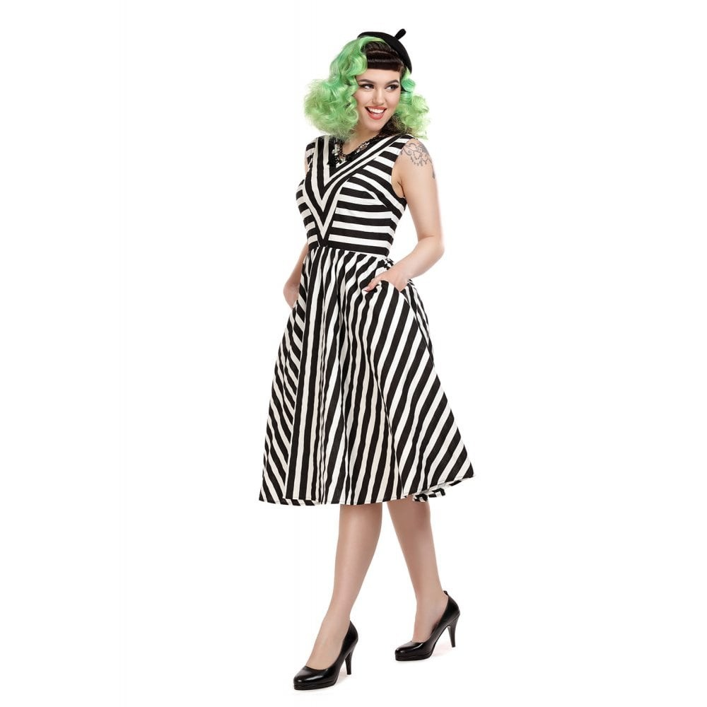 Jurk Joanie, swingmodel, zwart wit gestreept