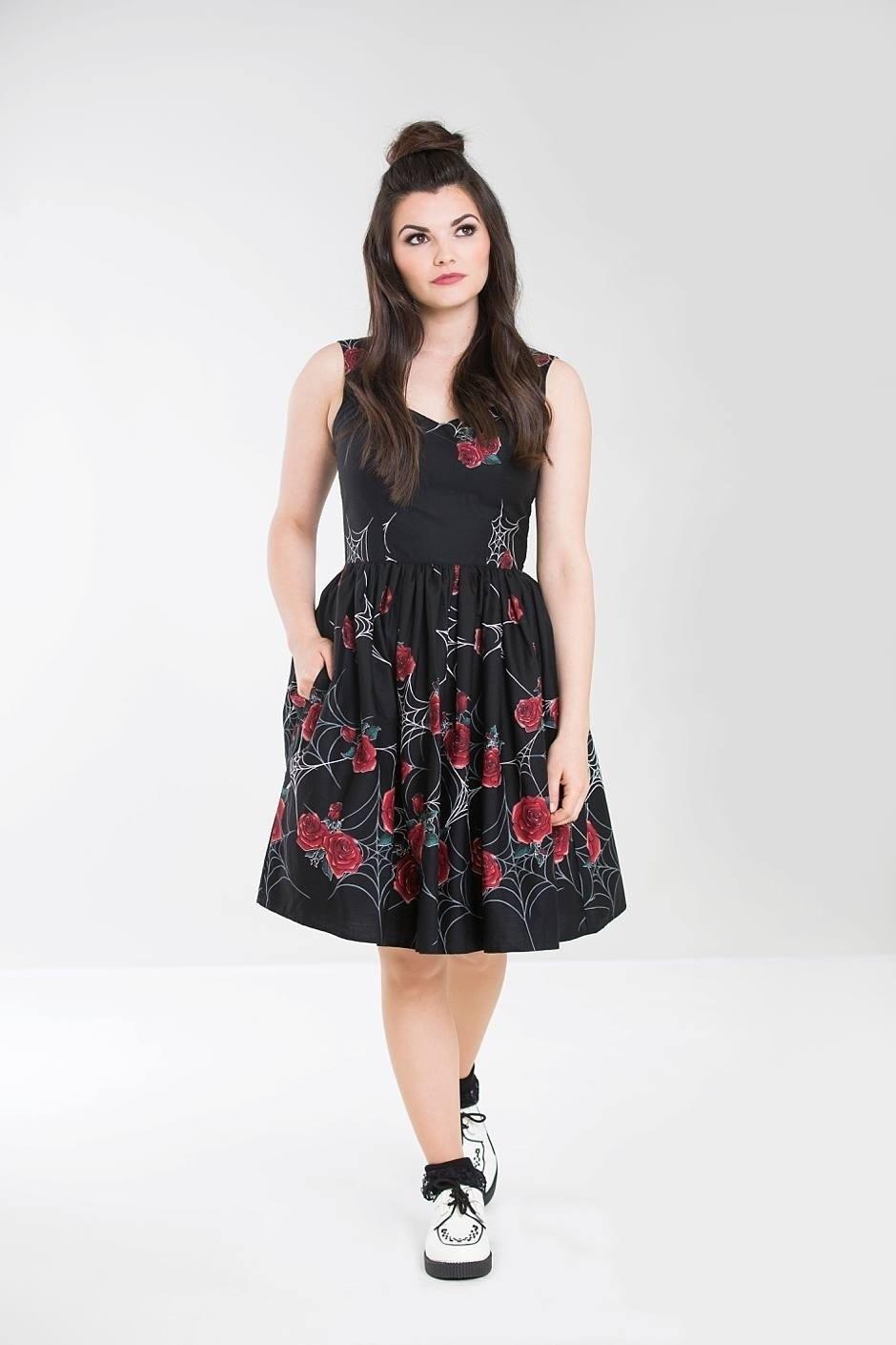 Jurk Sabrina 50s met rode rozen en spinneweb
