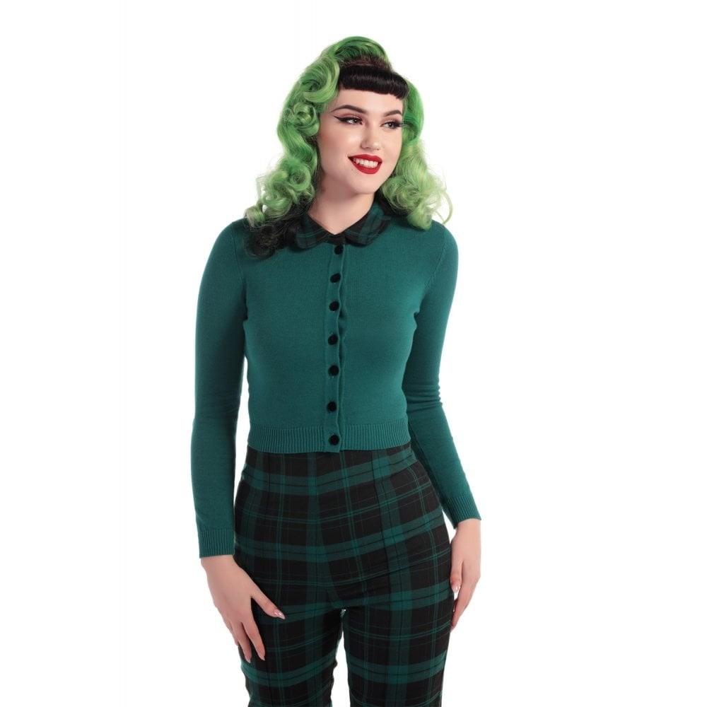Cardigan Millicent slither, groen met tartan kraagje