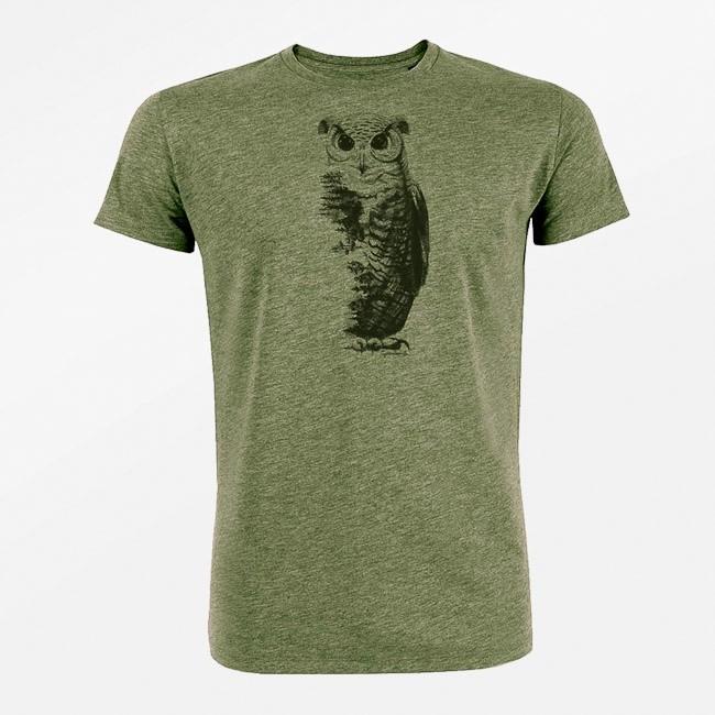 T-shirt animal Owl, bio katoen mid heather khaki