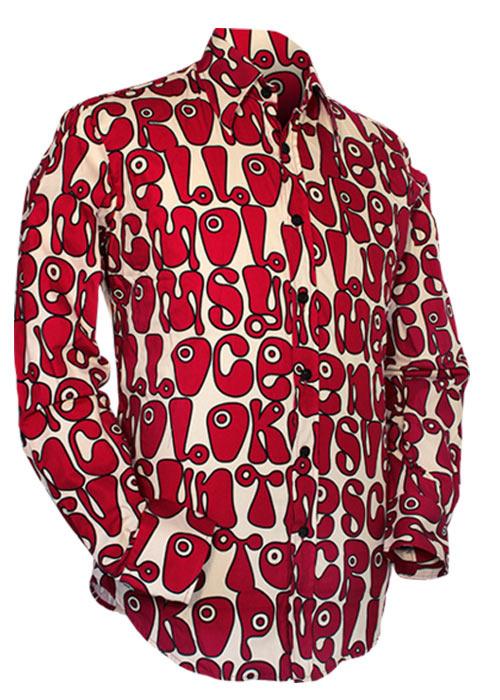 Chenaski   Creme rood seventies overhemd Moloko