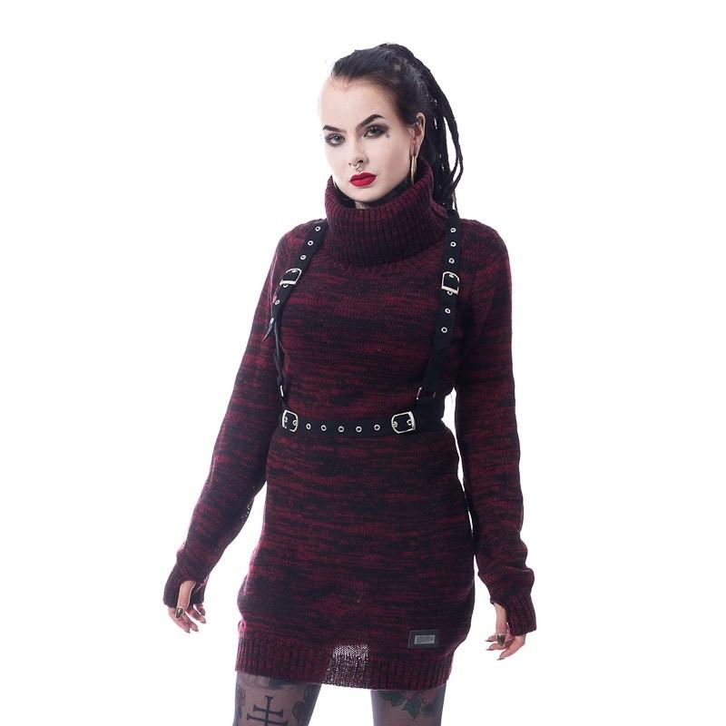 Trui Vain, zwart rood, met banden en gespen