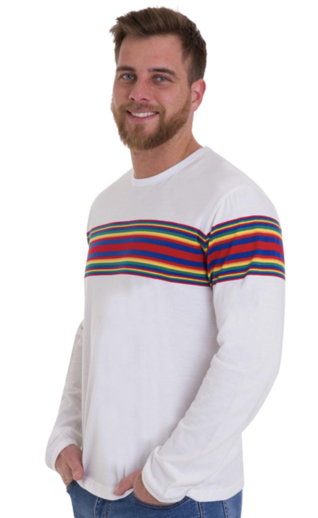 T-shirt lange mouw, wit met regenboog baan