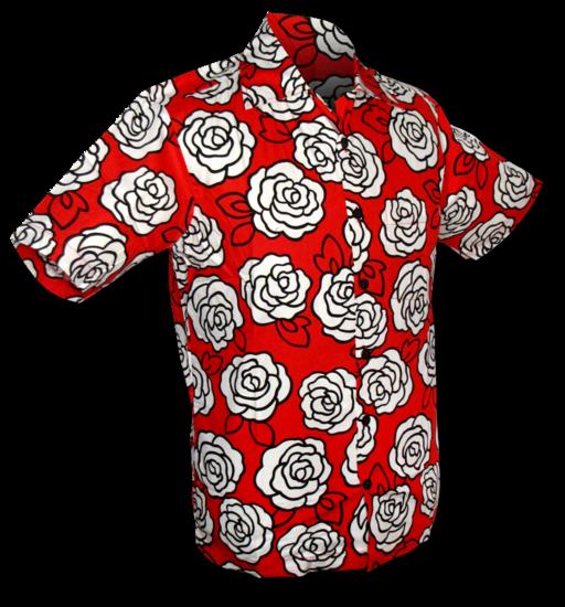 Overhemd korte mouw outline roses, rood wit