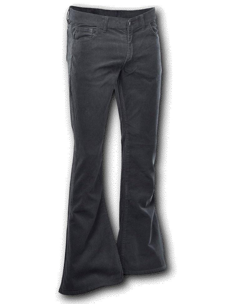 Ribcord broek wijdepijp normale lengte Zwart